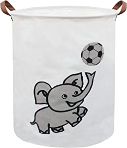 Sanjiaofen Large Storage Bins,Canvas Fabric Laundry Basket Collapsible Storage Baskets for Home,Office,Toy Organizer,Home Decor (Naughty Elephant)