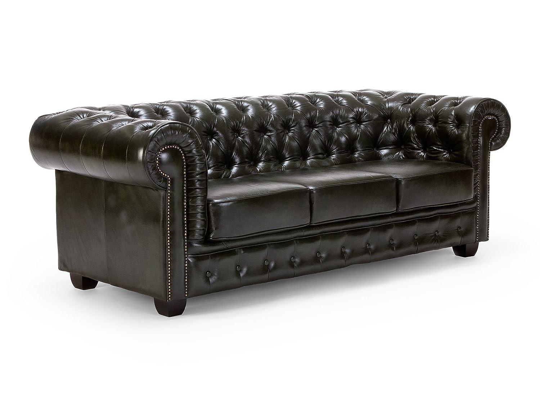 Massivum 10000059 Chesterfield Sofa 3-Sitzer antik Echtleder, grün, 95 x 218 x 79 cm