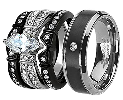 His & Hers 4Pcs Black Titanium Matching Band Women Simulated Diamond (CZ)  Stainless Steel