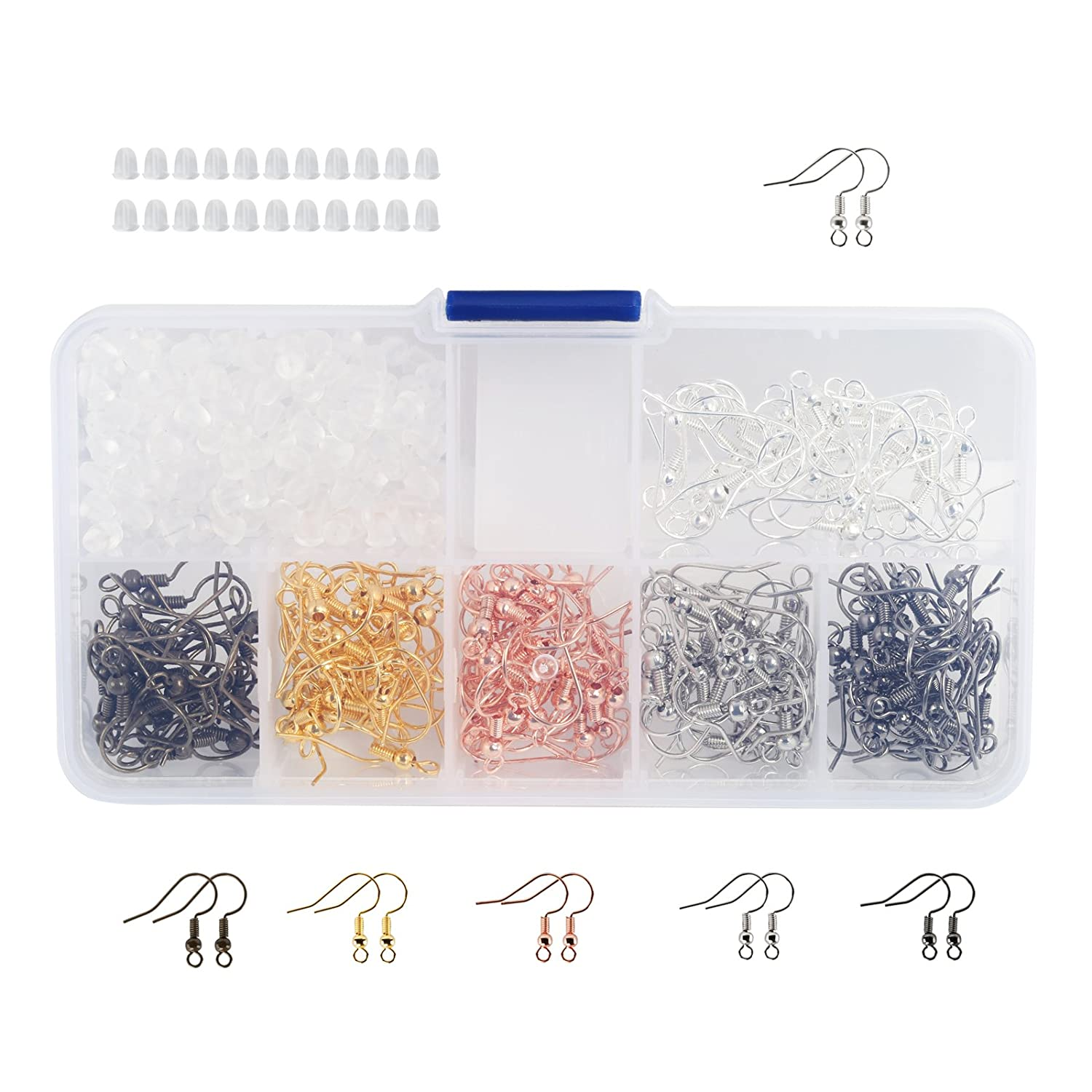 Naler 180Pcs 6 Colors Earring Hooks Ear Wires French Hooks Fish Hooks and 200Pcs Clear Rubber Earring Backs with Storage Case for DIY Jewelry Making