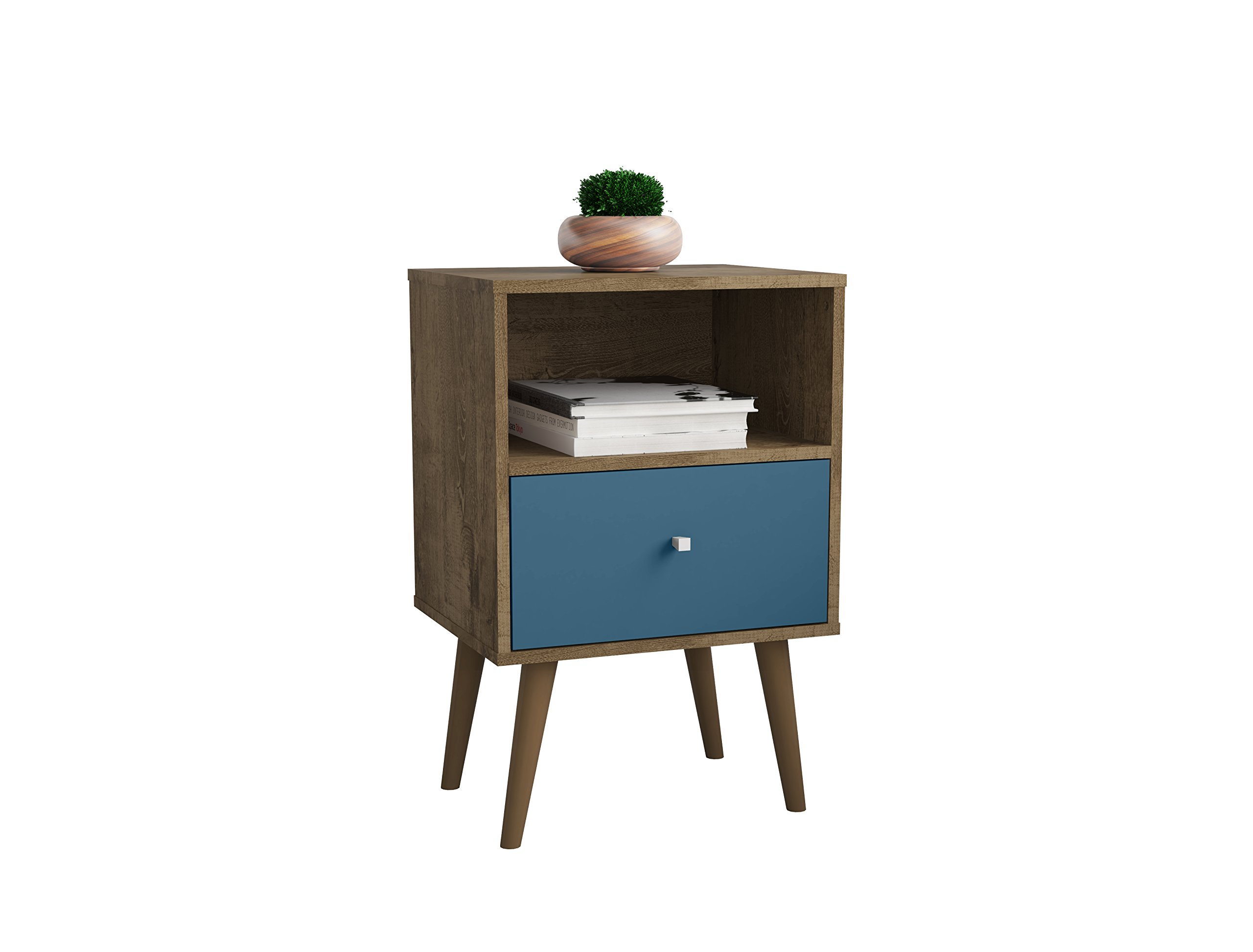 Manhattan Comfort Liberty Modern 1 Drawer Bedroom Nightstand/End Table, Rustic Brown/Aqua Blue by Manhattan Comfort