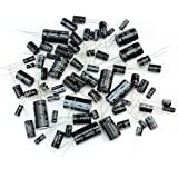 Foxnovo 125pcs 25 Values Total Electrolytic Capacitors Assortment Kit Set 1uF to 2200uF (Black)