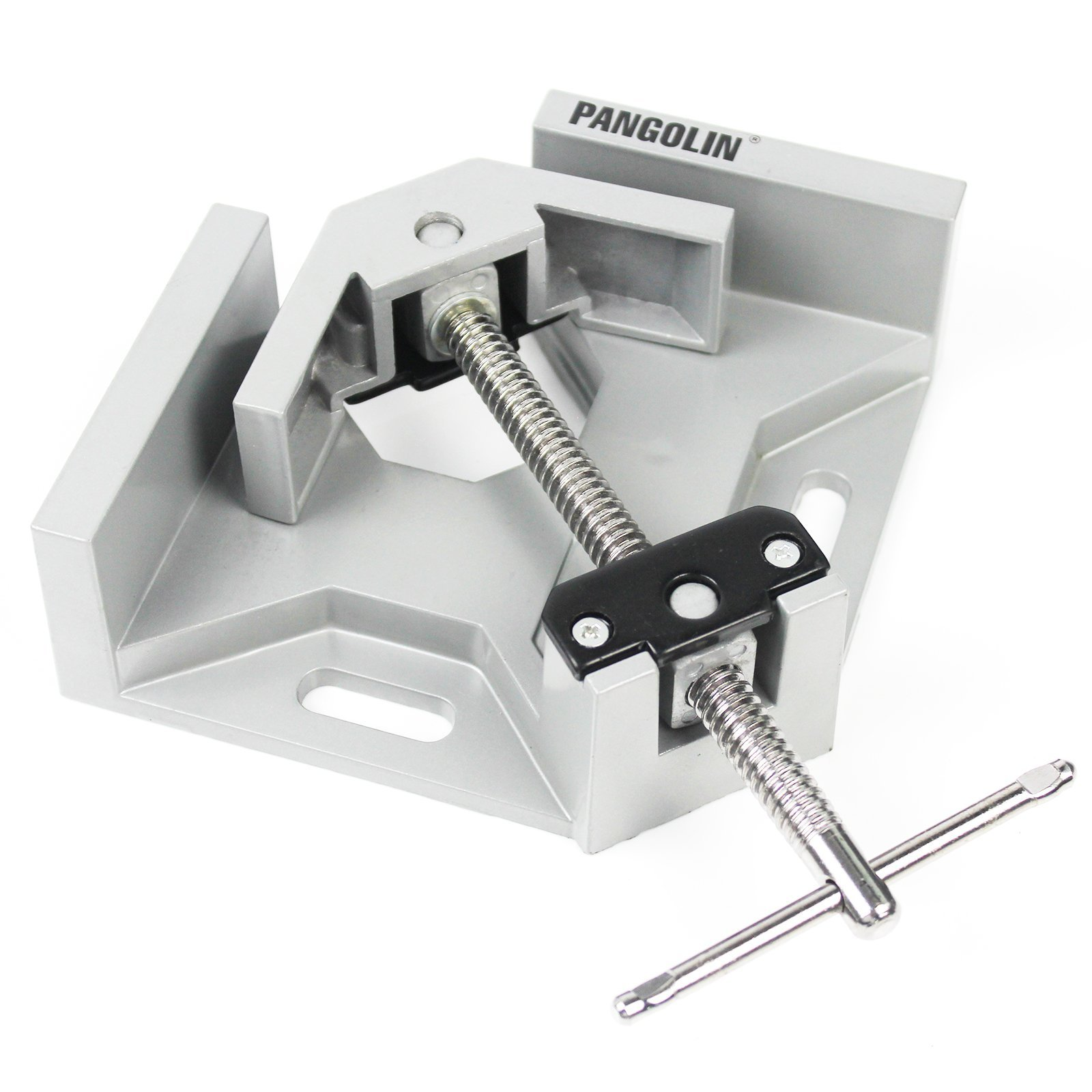 Corner Clamp Holders, PANGOLIN 90 Degree Aluminum Alloy T-Bar Handle Make It Fastening, with Adjustable Right Angle Corner Clamp Vise Ideal for Woodworking, Furniture Repair, Welding -Sliver Surface