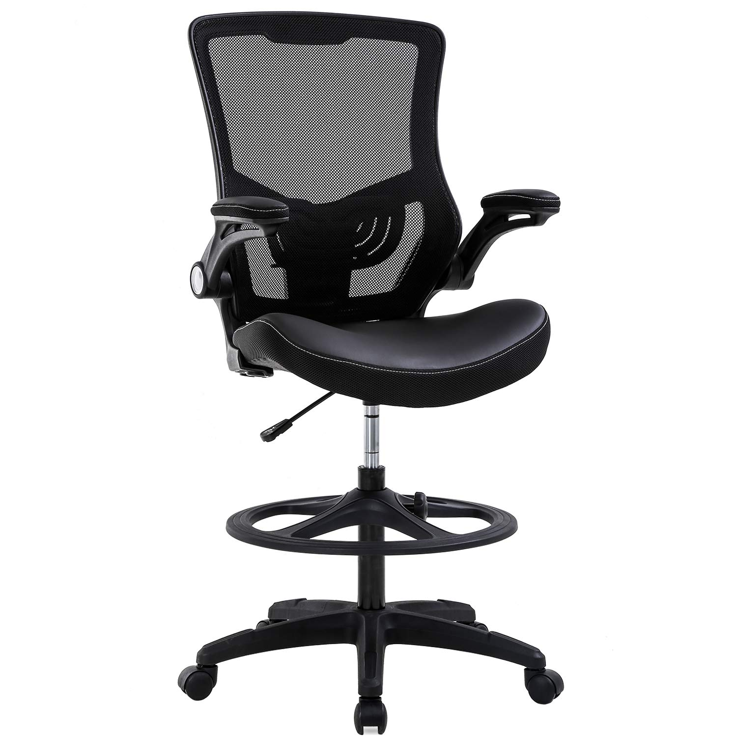 Drafting Chair Ergonomic Tall Office Chair with Flip Up Arms Foot Rest Back Support Adjustable Height Mesh Drafting Stool for Standing Desk, Black by BestOffice
