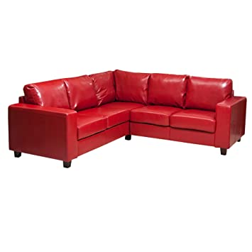 Sofa Collection Lucena Red L Shaped Corner Sofa In Bonded Leather