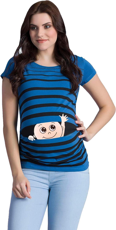 T-Shirt de Grossesse M.M.C T-Shirt de maternit/é /à Motif pour la Grossesse Winke Winke /à Manches Courtes v/êtement de maternit/é Mignon et Rigolo