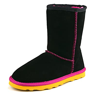 Women's Mid-Calf Contrast Color Leather Boot 96825