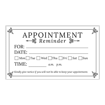 Appointment Reminder Cards Business Card Size Pack