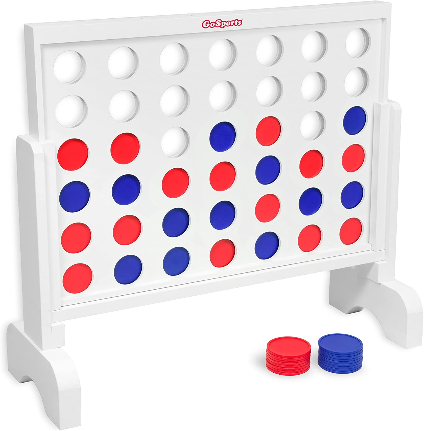 GoSports Giant Wooden 4 in a Row Game | Choose Between Classic White or Dark Stain | 2 Foot Width - Huge 4 Connect Family Fun with Coins, Case and Rules