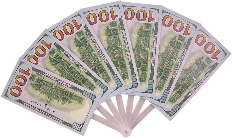 88 Merchandise Fake 100 Dollar Bills Folding Hand Fan, 9 Inch, Pack of 3
