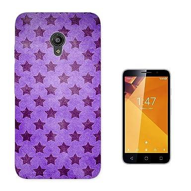 003671 – morado estrellas patrón diseño Vodafone Smart Turbo 7 Fashion Trend Case Funda Silicona todos