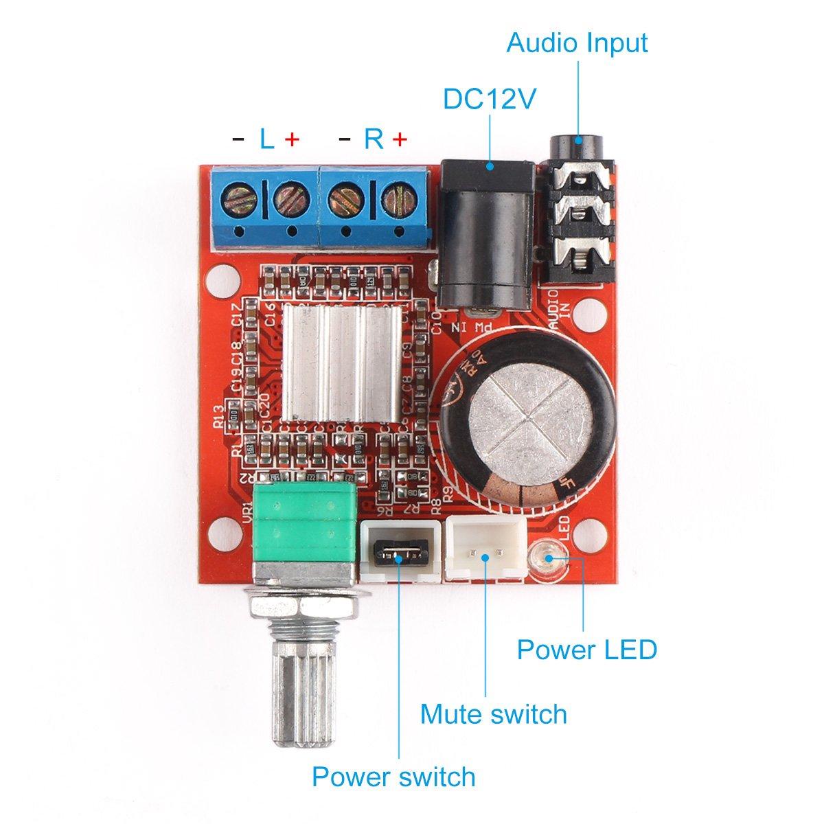 12 Volt Amplifier Board Drok Pam8610 Mini Stereo Amp 10w 20w Based Lm1876 Amplifiercircuit Circuit Digital Audio Amplify Class D 12v Dc Portable Low Power Ampli Module Dual Channel