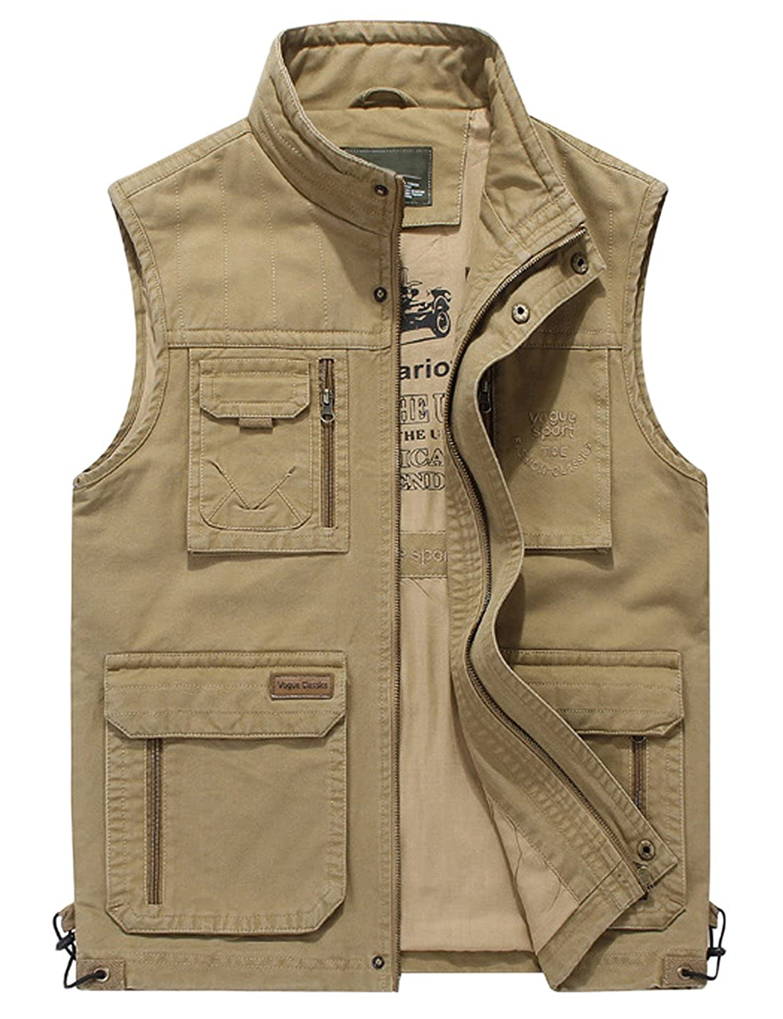 Gihuo Men's Winter Outdoor Fishing Hunting Safari Travel Vest Jacket with Pockets