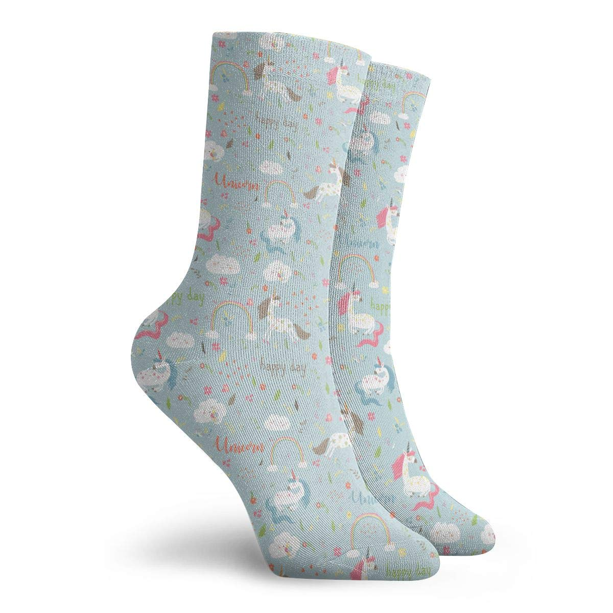 Unisex Rainbow And Unicorn Athletic Quarter Ankle Print Breathable Hiking Running Socks