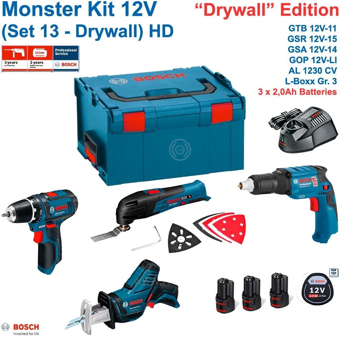 BOSCH Monster Kit 12V Set 13 HD Special Pladur (GTB 12V-11+ GOP 12V-LI + GSA 12V-14 + GSR 12V-15 + 3 x 2,0 Ah + AL1230CV + L-Boxx 238): Amazon.es: Bricolaje y herramientas