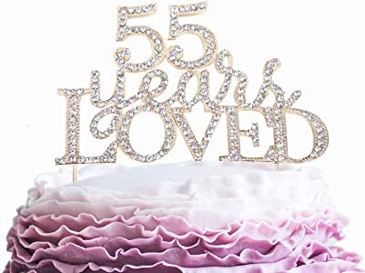 55 Years Loved Crystal Cake Topper for 55 Years Birthday Or 55th Wedding Anniversary Rhinestone Metal Party Decoration Gold