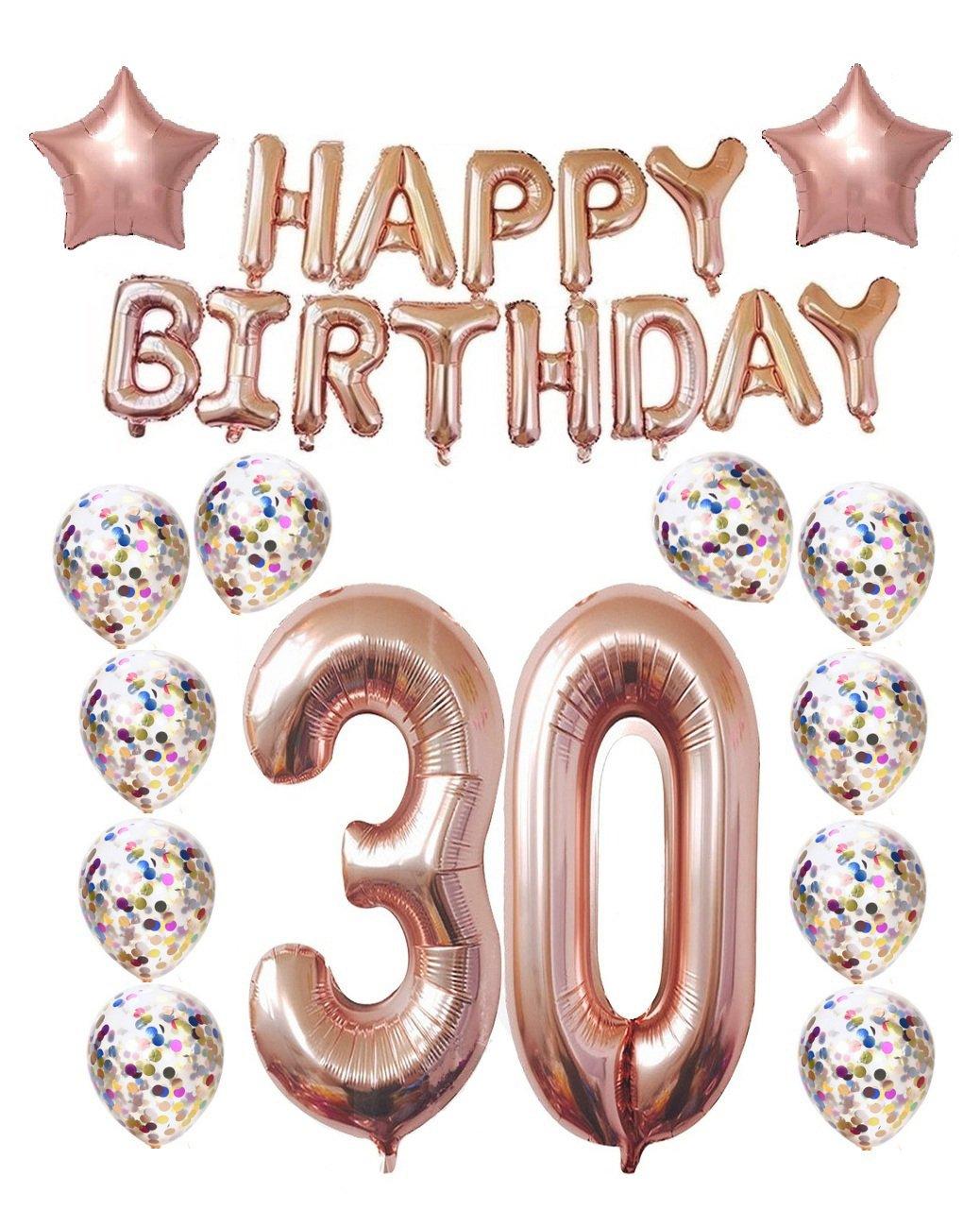 30th Birthday Decorations Party Supplies, Thirtieth Birthday Balloons Rose Gold, Rose Gold Hang Happy Birthday Alphabet Balloons Banner, Gold Confetti Balloons, 30th Birthday for Women Mity Rain