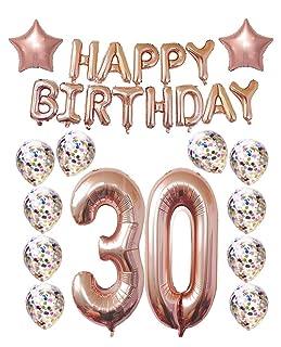 30th Birthday Decorations Party Supplies,Thirtieth Birthday Balloons Rose Gold,Rose Gold Hang Happy Birthday Alphabet Balloons Banner,Gold Confetti Balloons,30th Birthday for Women Mity Rain