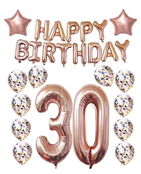 30th Birthday Decorations Party Supplies Thirtieth Balloons Rose Gold Hang Happy Alphabet Banner Confetti