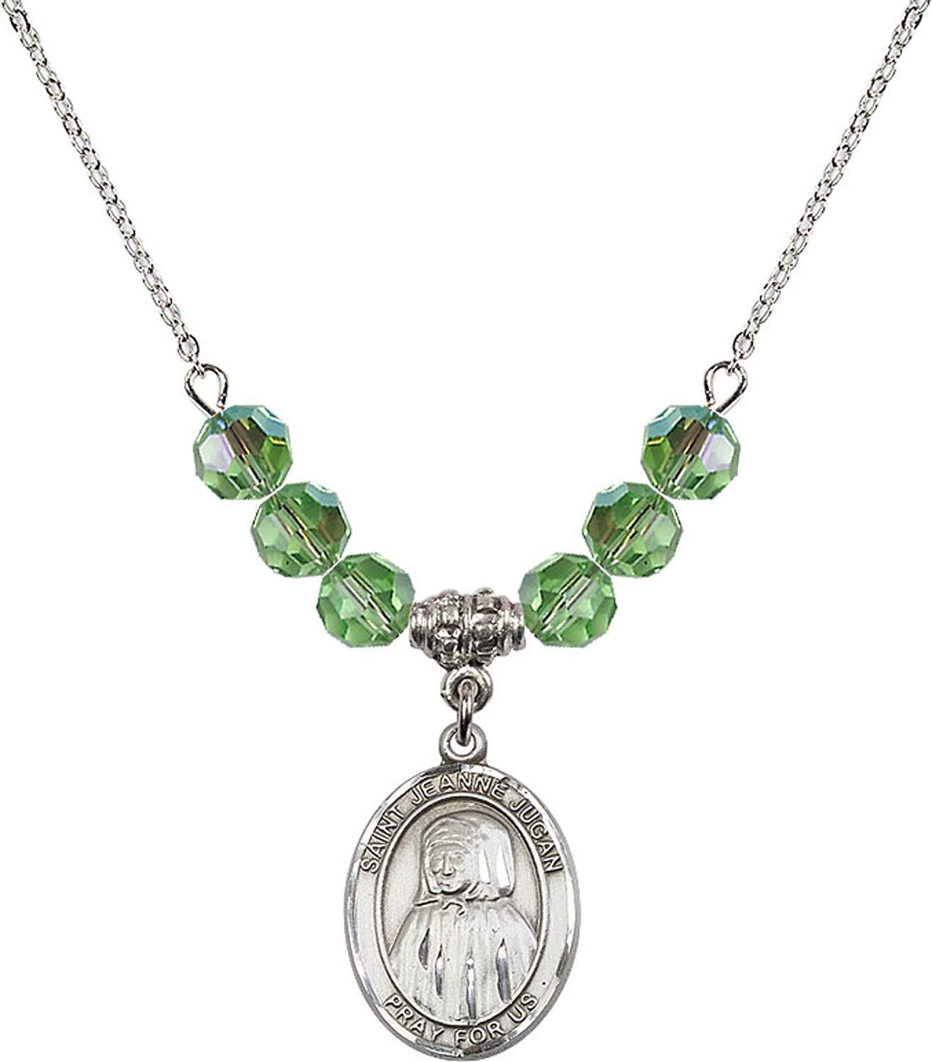 Bonyak Jewelry 18 Inch Rhodium Plated Necklace w// 6mm Green August Birth Month Stone Beads and Saint Jeanne Jugan Charm