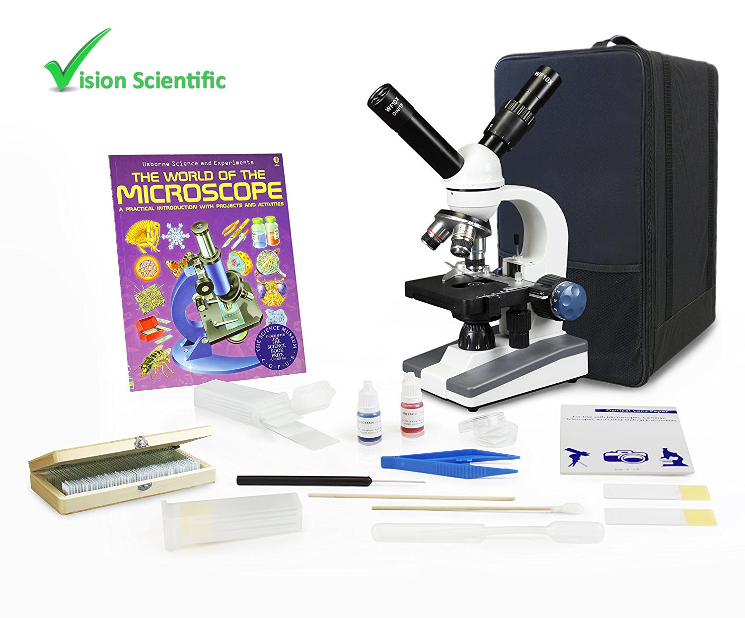 Vision Scientific VME0018-ST-RC-P3 Dual View Elementary Level Microscope, Mechanical Stage, Microscope Book, Microscope Discovery Kit,50 Prepared Slides Set,Carrying Case,Free Gift Package ($20 Value)
