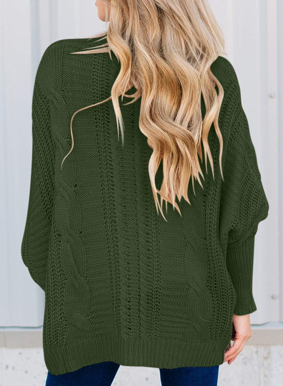 Elapsy Womens Dolman Long Sleeve Open Front Knit Cardigan