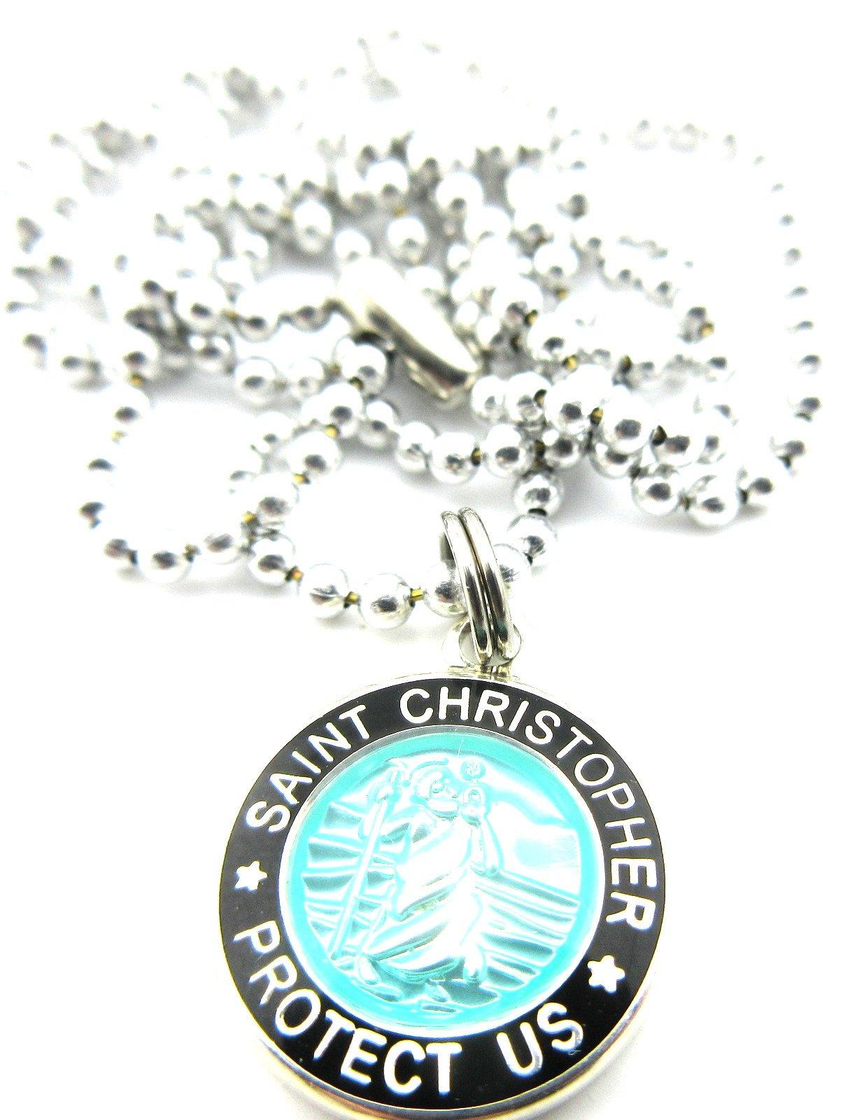 Mini St Christopher Surf Medal Pendant Necklace,Aquamarine/Black AQ/BK by Get Back Supply Co (Image #5)