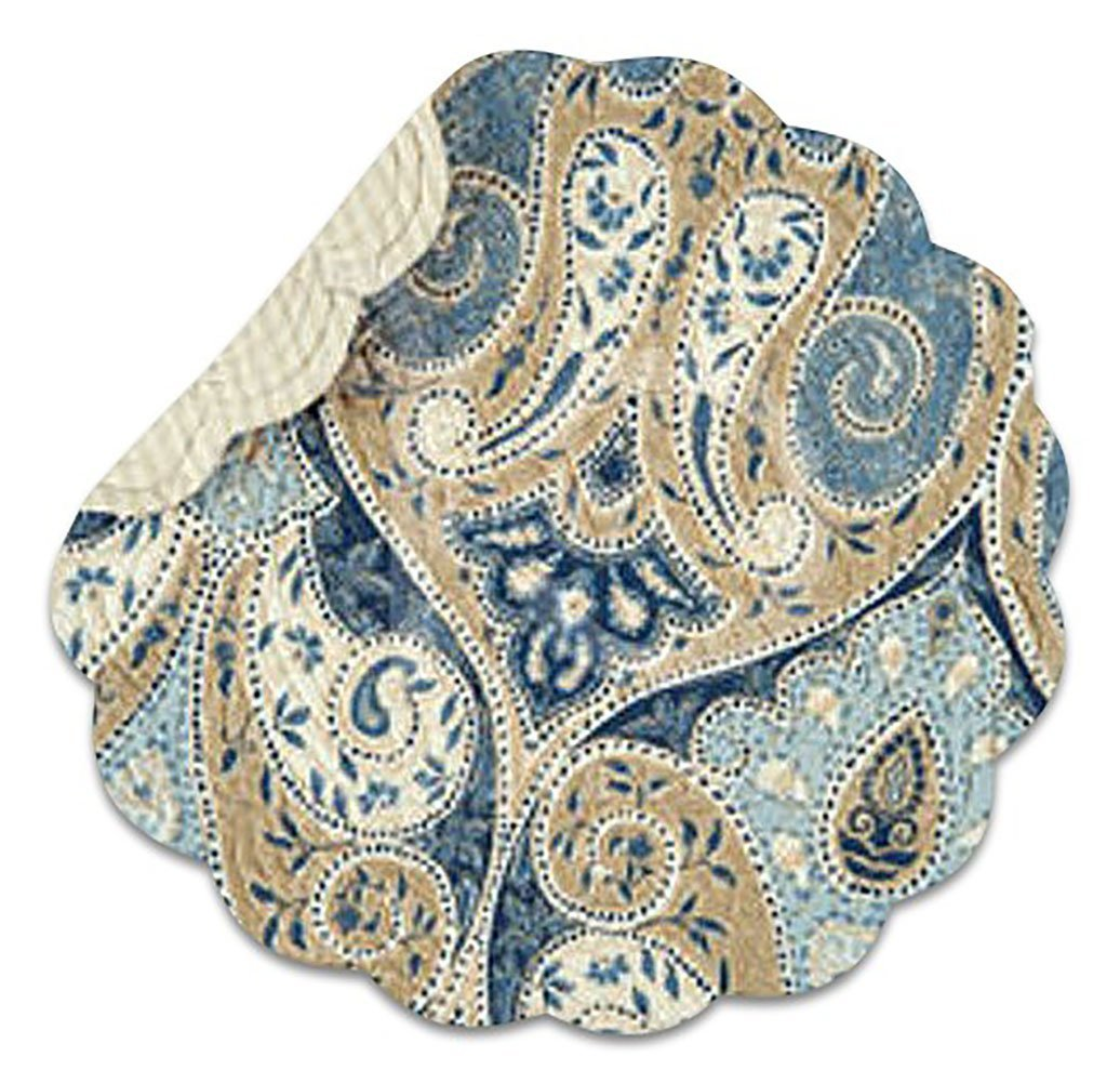 """Unique & Custom {16'' Inch} Single Pack of Round """"Non-Slip Grip Texture"""" Large Reversible Table Placemat Made of Washable 100% Cotton w/ Country Paisley Quilted Scalloped Design [Colorful Blue & Tan]"""