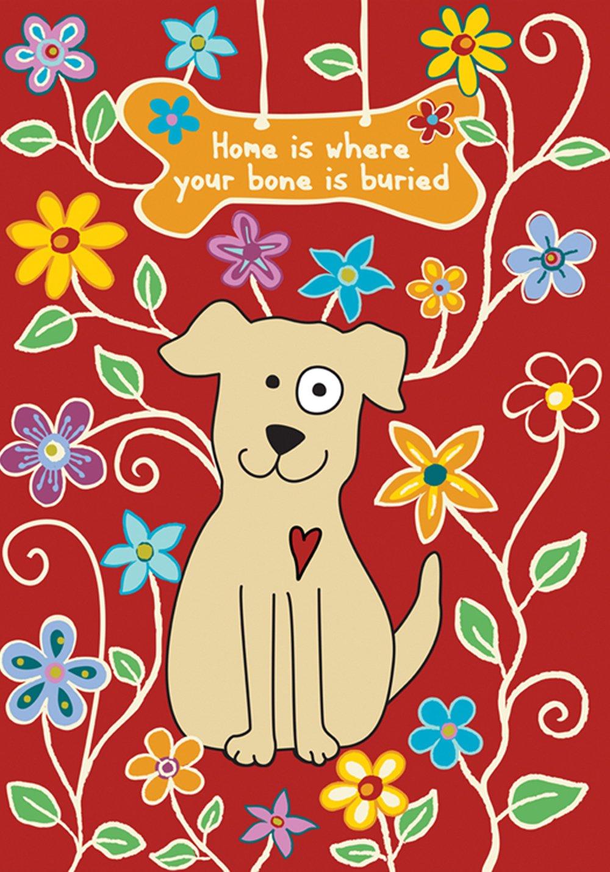 Toland Home Garden Dog Bone Red 12.5 x 18 Inch Decorative Cute Pet Puppy Flower Home Garden Flag