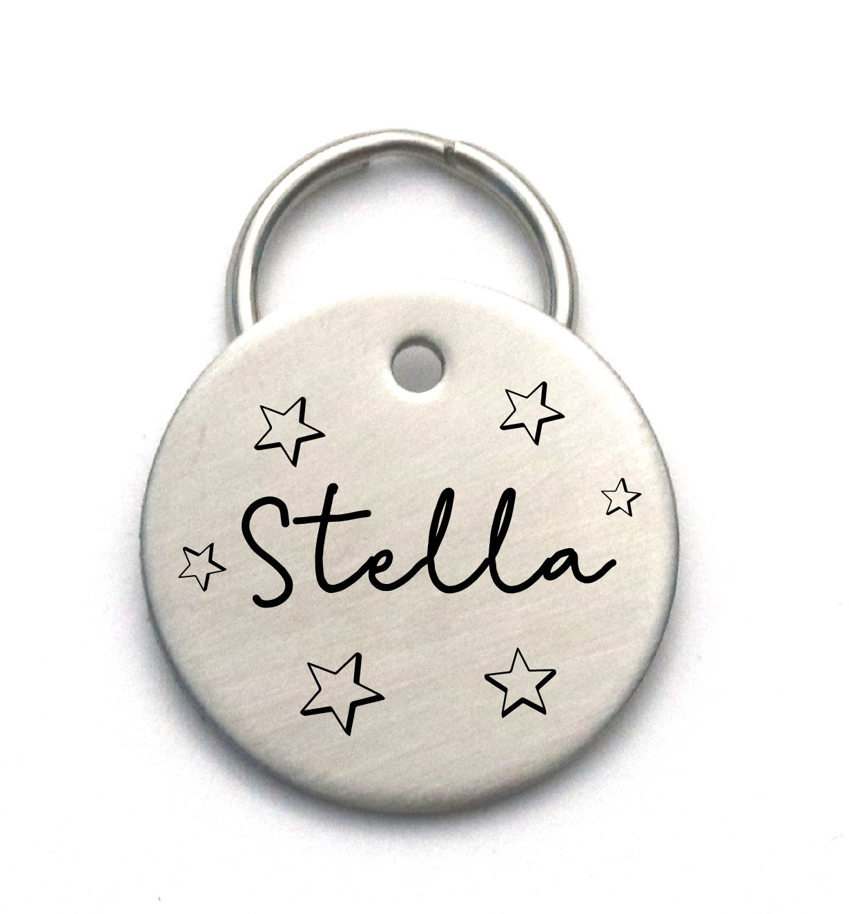 Unique Customized Dog Name Tag With Stars - Engraved Stainless Steel Pet ID - Personalized