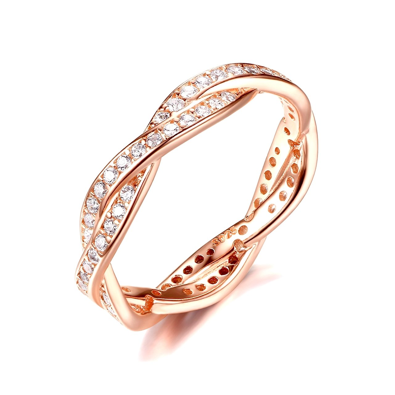 Presentski 925 Sterling Silver Rose Gold Plated Engagement Ring With Cubic Zirconia Weave Design Size 5-10 RYS-10