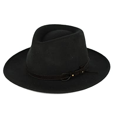 Men s Ladies Fedora Hat 100% Wool Felt Made In Italy Waterproof   Crushable  - Black 0a793e7cfd4