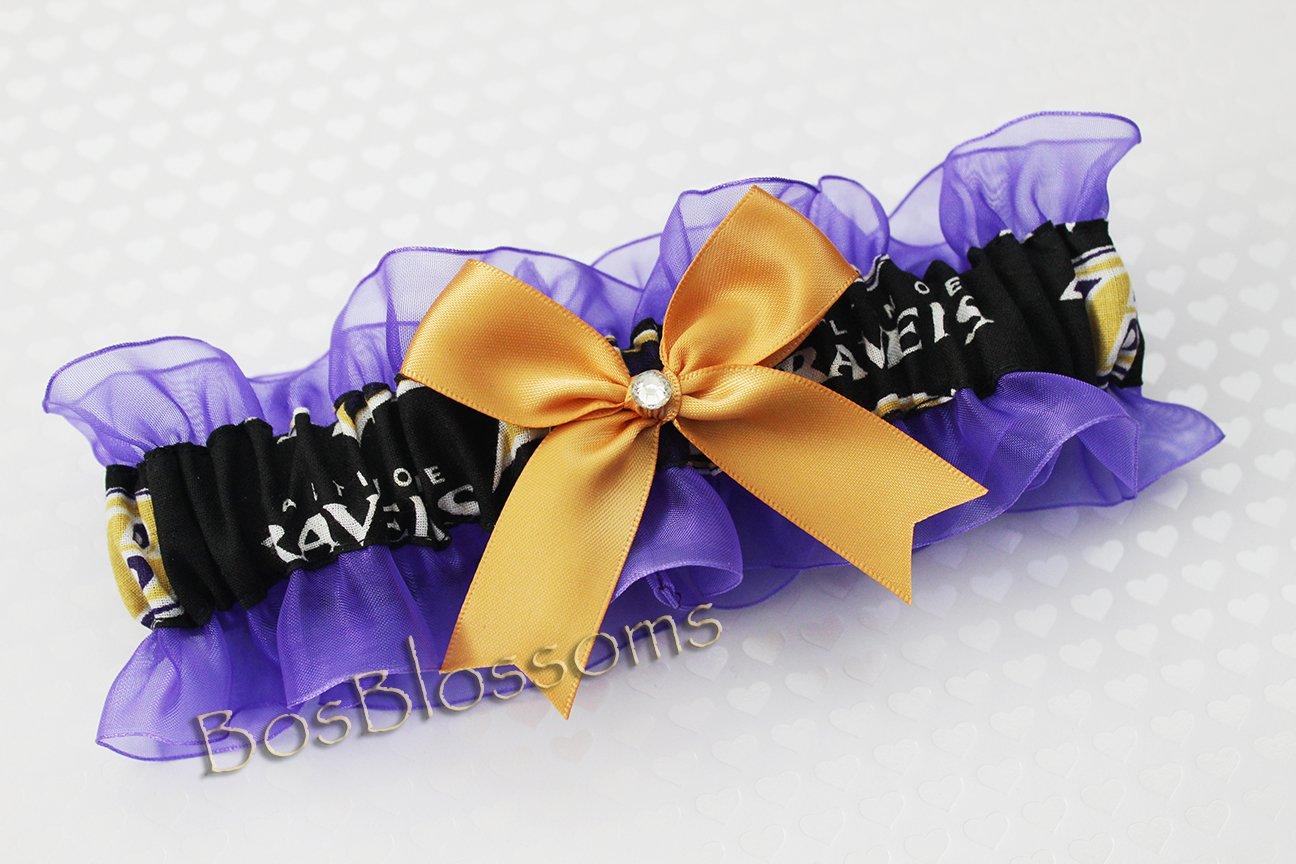 Customizable - Baltimore Ravens black fabric handmade into keepsake garter on purple organza bridal prom wedding garter with bow wks