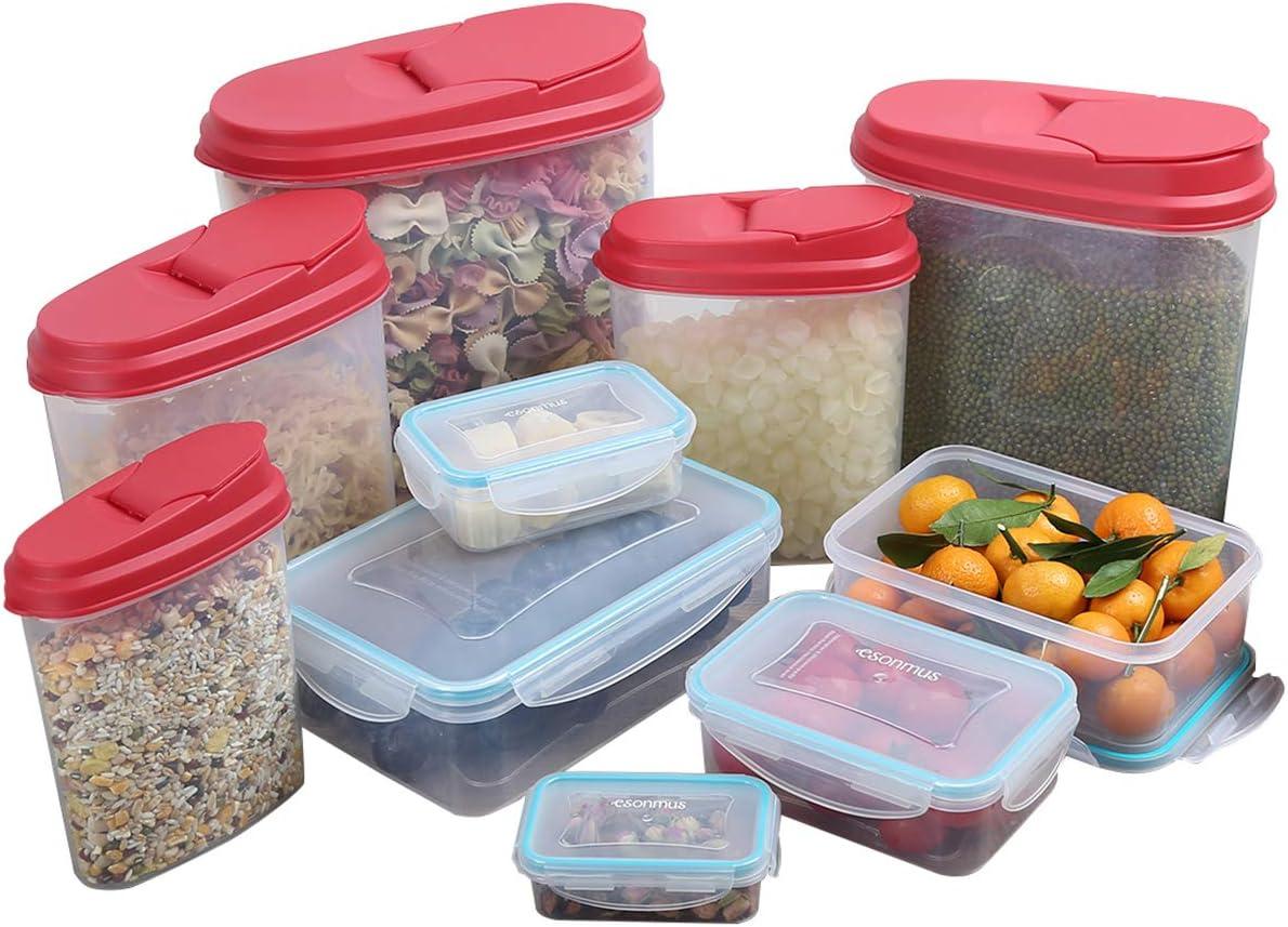 esonmus Contenedor de Almacenamiento de Alimentos 10pcs (Contenedor de Alimentos hermético 5pcs+ Contenedor de Granos 5pcs) Recipientes Plastico con Tapa Sin BPA Transparente