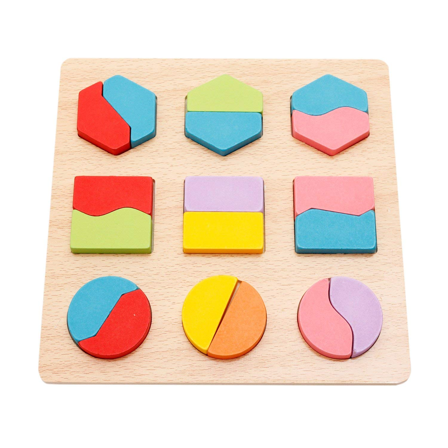 Style B WisdKids Wooden Blocks Shape Puzzles Geometry Construction Games Imagination DIY Toys Early Development Educational Toys for Toddlers Preschool Sorter Sorting Plate Puzzles