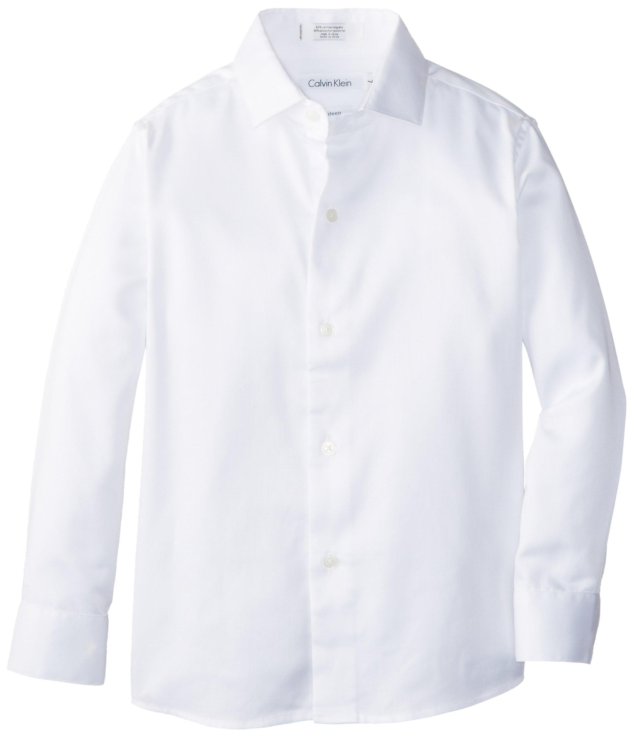 Calvin Klein Little Boys' Long Sleeve Sateen Dress Shirt, White, 4