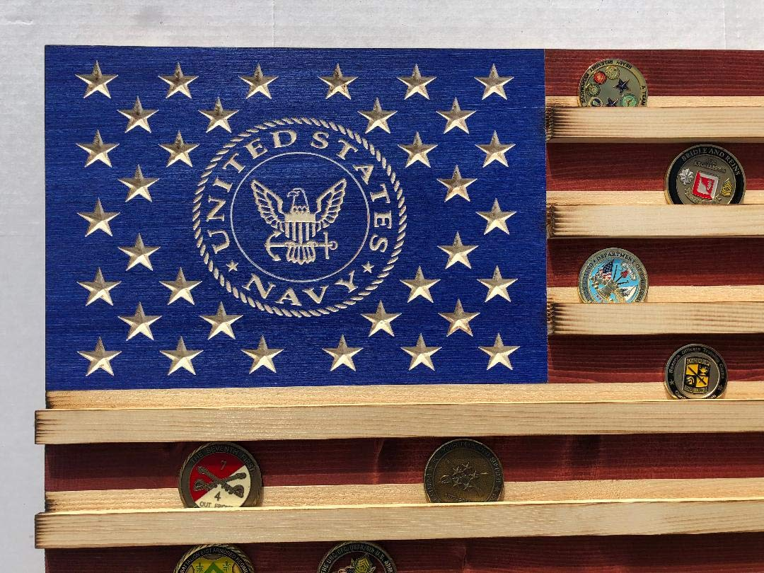 Large NAVY Rustic American Flag Challenge Coin Display