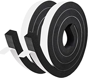 "fowong High Density Foam Tape 2 Rolls, 1"" W X 3/4"" T X 13' L Soundproofing Closed Cell Foam Seal Neoprene Weather Stripping with Adhesive 2 Rolls X 6.5Ft, Black"