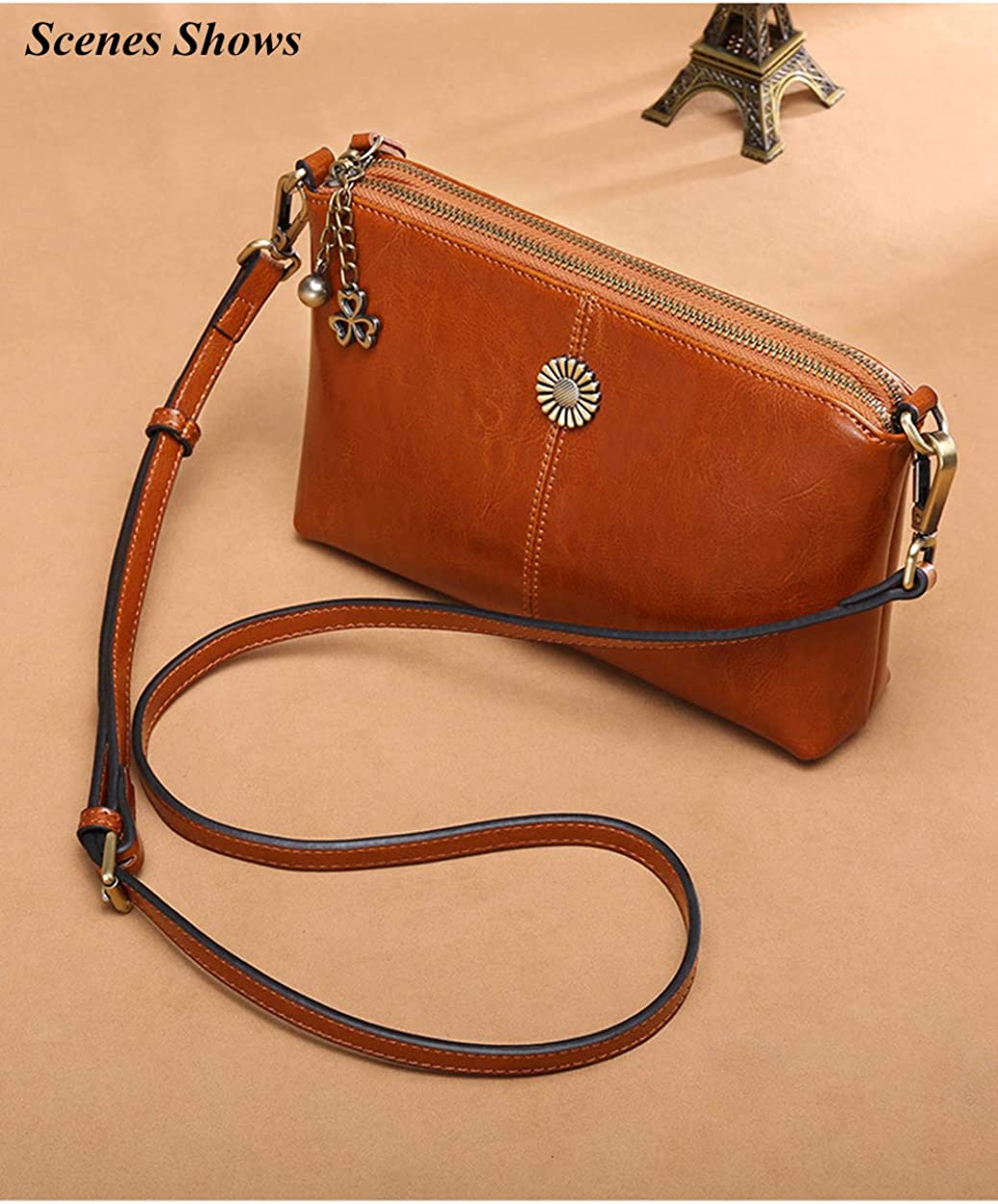CHSYU Cross-body Womens Genuine Leather Tote Shoulder Bag with Sun Flower Nameplate and Clover Zipper