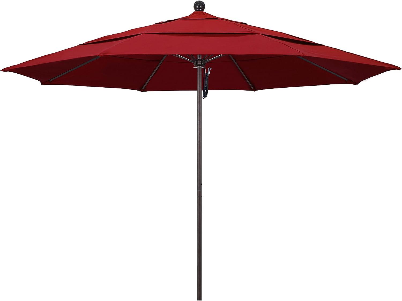 California Umbrella 11 Round Aluminum Fiberglass Umbrella, Pulley Lift, Bronze Pole, Pacifica Red Fabric