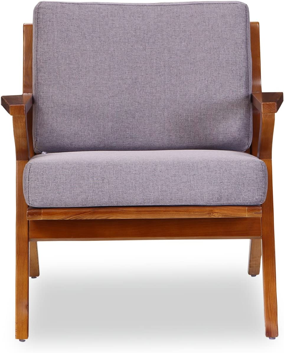 Ceets Martelle Chair with Amber Ashwood Frame and Twill Fabric Cushions Grey Mid Century Modern Accent Armchair for Your Living Room, Office or Bedroom, 30.7 31.5 29.5