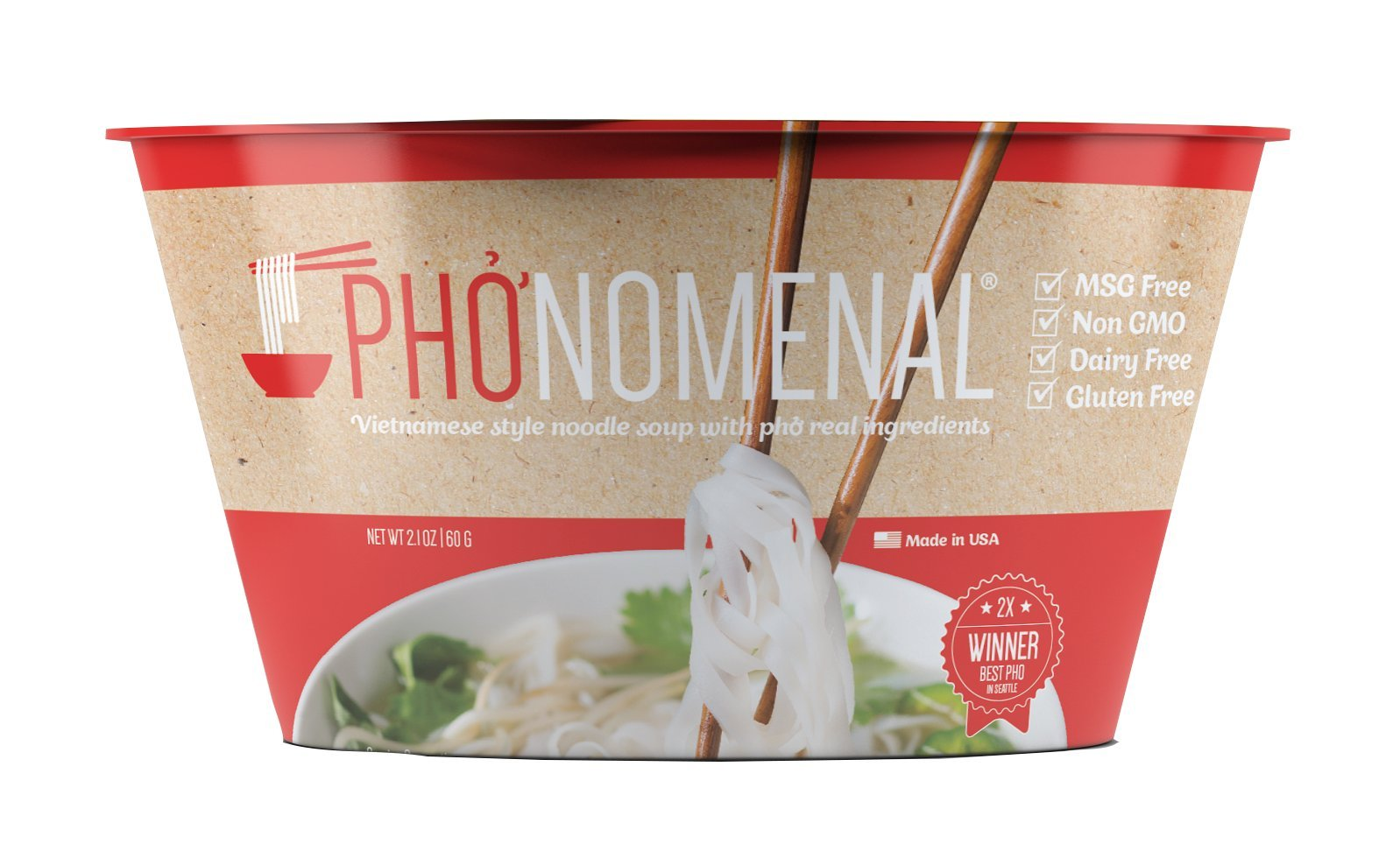 Pho'nomenal Instant phở bò, Vietnamese Beef Noodle Soup, Non GMO, Gluten Free, 6 Bowl Pack by Pho'nomenal