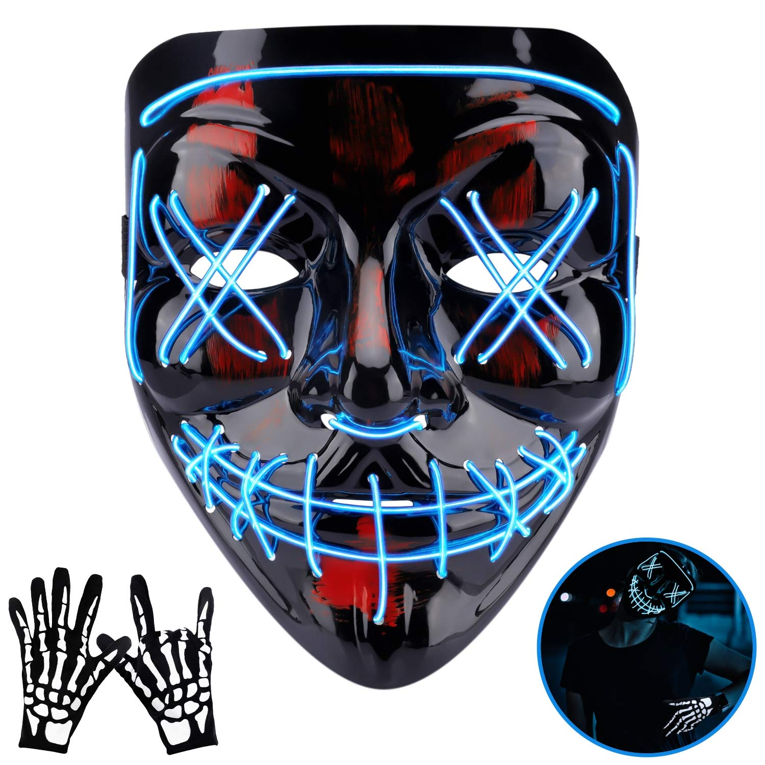 Halloween Mask LED EL Wire Light Up Mask for Festival Cosplay Halloween Costume Blue by Phaxcoo