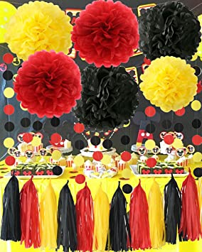 Mickey Mouse Party Supplies Yellow Black Red Mickey Mouse Birthday