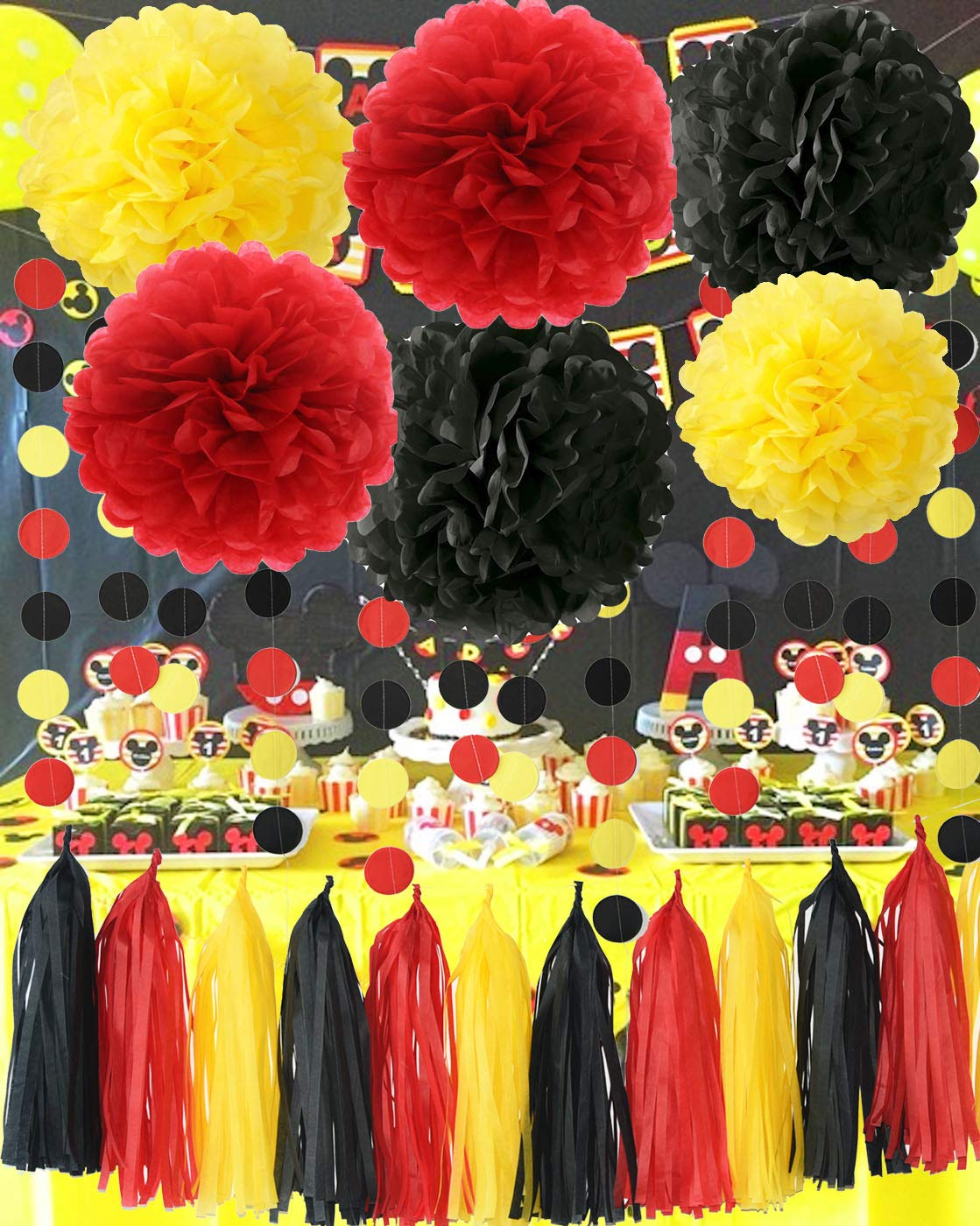 Mickey Mouse Party Supplies Yellow Black Red Tissue Paper Pom Pom Tassel Garland Mickey Garland Mickey Mouse Theme Birthday Party Decorations by Qian's Party