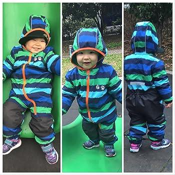 umkaumka Baby Boy Waterproof Onesie All in One Romper Jumpsuit Snowsuit Fleece Lining Bunting Pramsuit Muddy Play Outfits