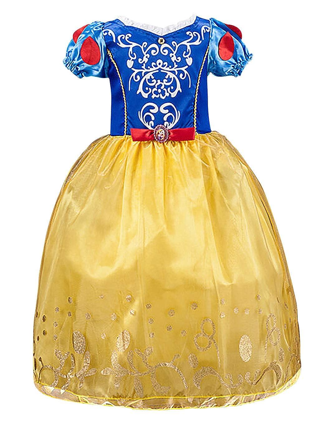 YOSICIL Vestido de Princesa Blancanieves con Manga Corta Disfraz ...