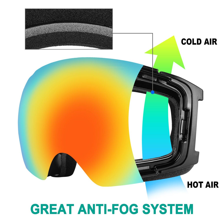 over the glass//para gafas Protecci/ón UV400/y antivaho y odoland adultos Gafas de esqu/í de grandes sph/ä rische Snowboard Gafas con lente magn/ética intercambiable /& OTG