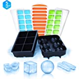 Ice Cube Trays Silicone Molds - 5 Silicone Ice Cube Molds - Square, Round, Narrow Stick, with Lids Ice Cube Mold Containers - Ice Cube Trays BPA Free