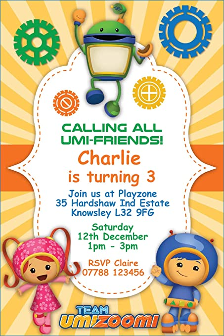 Team Umizoomi Birthday Party Invitations Envelopes Pack Of 16 Personalised